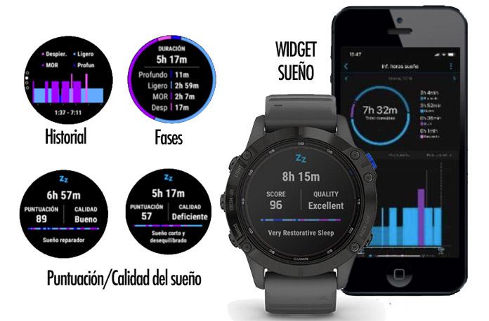 actualización del widget sueño serie fenix 6 de Garmin