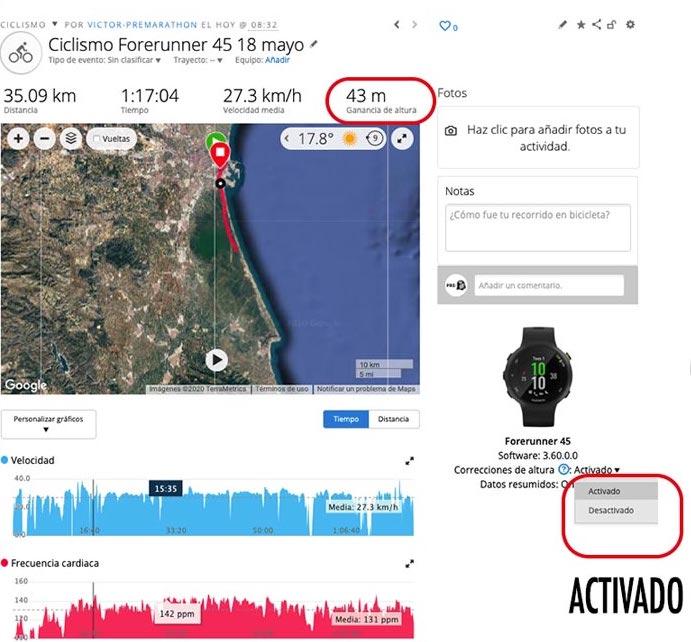 ejemplo de actividad en Garmin Connect con la corrección de altitud activada