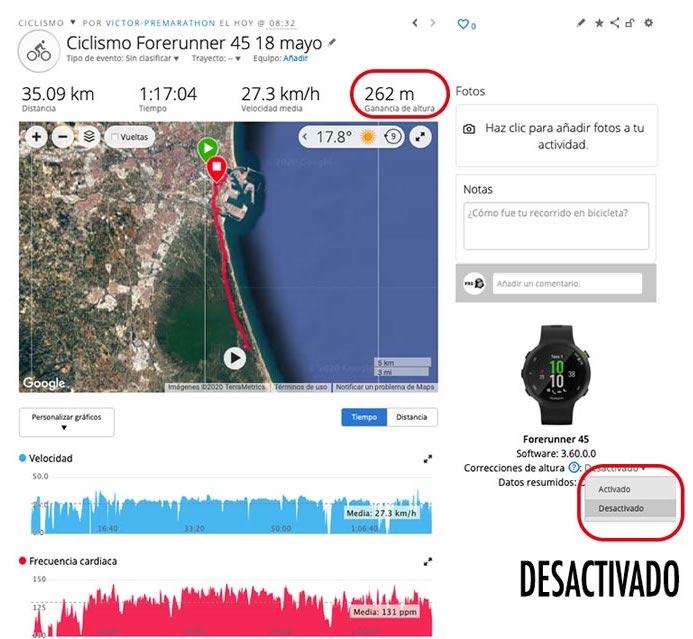 ejemplo de actividad en Garmin Connect con la corrección de altitud desactivada