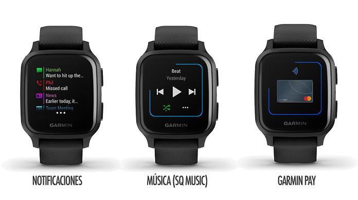 Funciones de smartwatch en Garmin Venu SQ y SQ Music