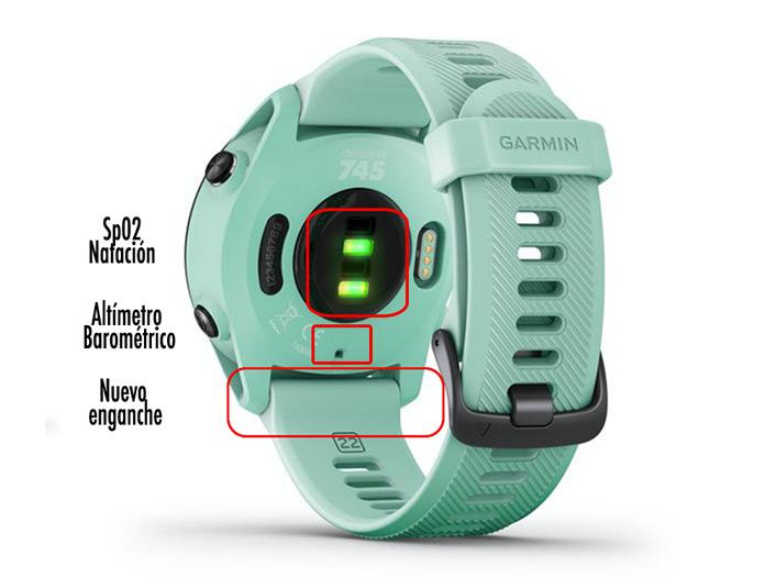 Forerunner 745 con sensor óptico de pulso Elevate y altímetro barométrico.