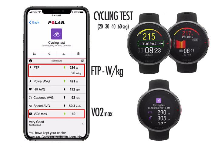test de ciclismo en Polar Vantage V2 para cálculo del FTP