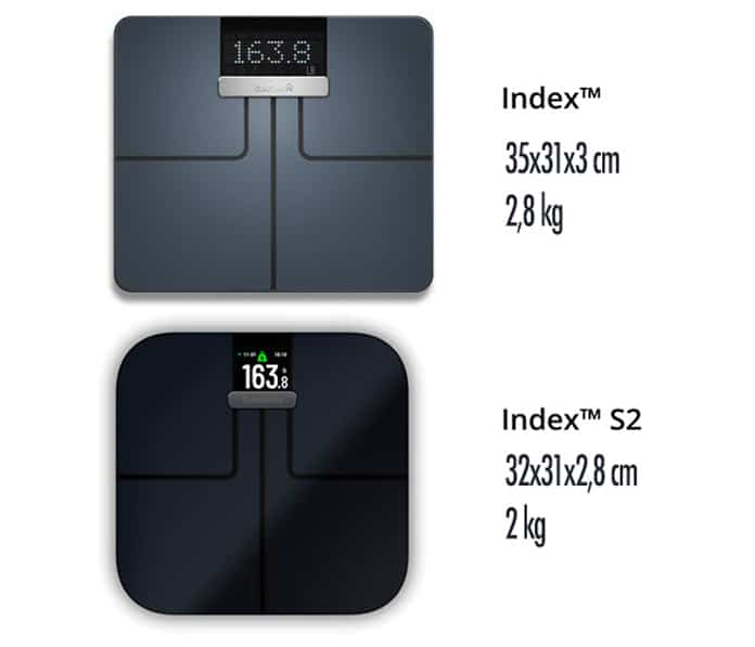 dimensiones báscula inteligente garmin index s2 versus modelo previo