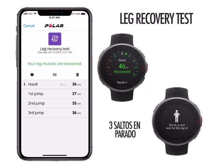 Prueba de salto para test de recuperación muscular piernas en Polar Vantage V2