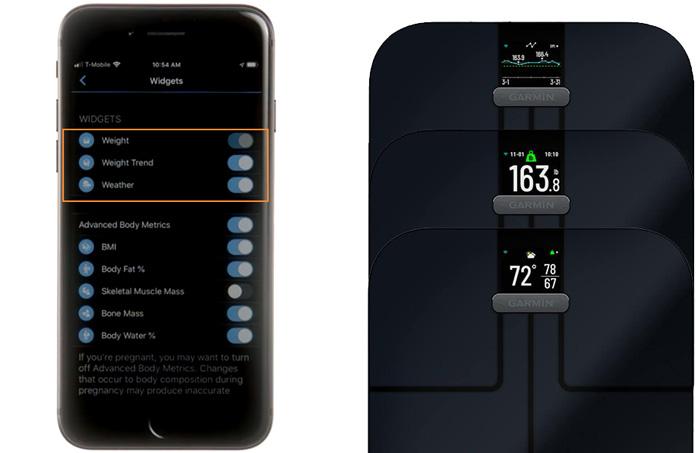 configuración widgets pantalla báscula inteligente garmin index s2