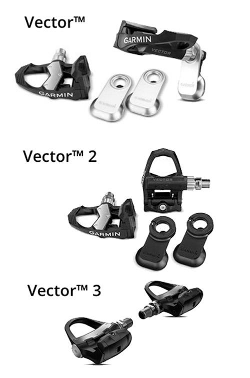 Evolución de las tres versiones de pedales Garmin Vector con potenciómetro