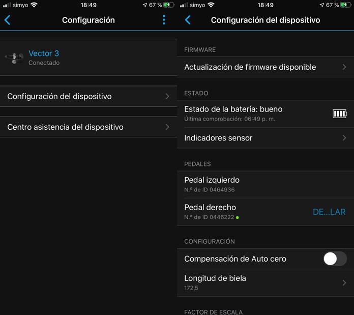 Configuración Vector 3 a través de la app de Garmin Connect.