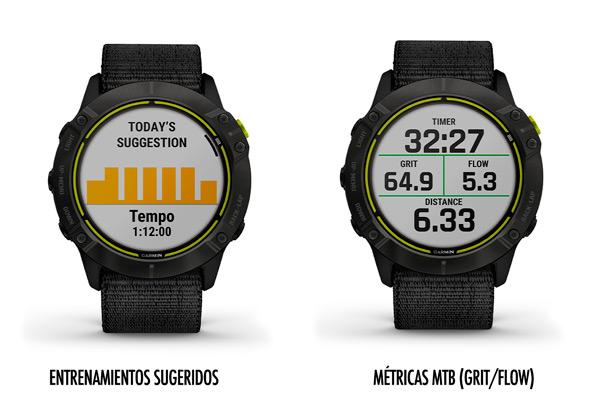 Funciones de entrenamientos sugeridos y métricas de mountain bike en el Garmin Enduro.
