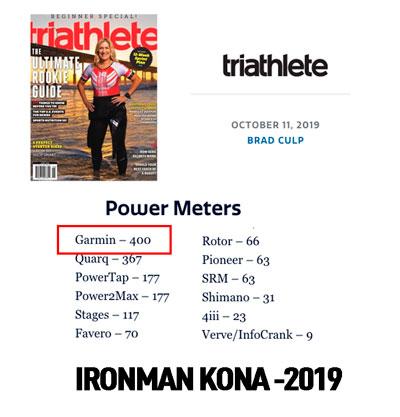 Potenciometros más usados en IronMan Kona 2019. Fuente: Revista Triathlete.