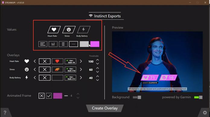 interfaz de la aplicación STR3AMUP