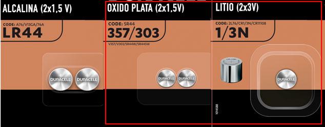 Tipos de pilas botón/batería para los Vector 3: LR44, SR44, CR1/3N