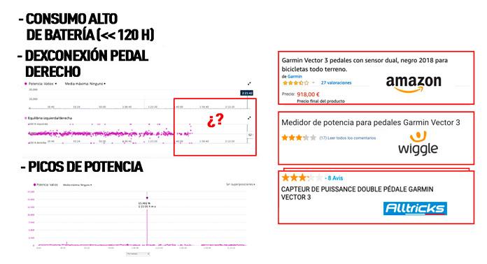 Problemas comunes pedales Garmin Vector 3 en su lanzamiento.