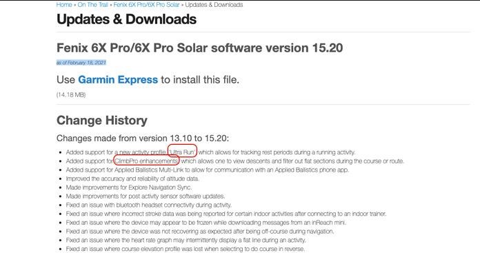 Update 15.20 ultrarun fenix 6x pro/pro solar Febrero 2021.