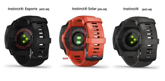 Diferentes pulsómetros ópticos según la versión del Garmin Instinct.