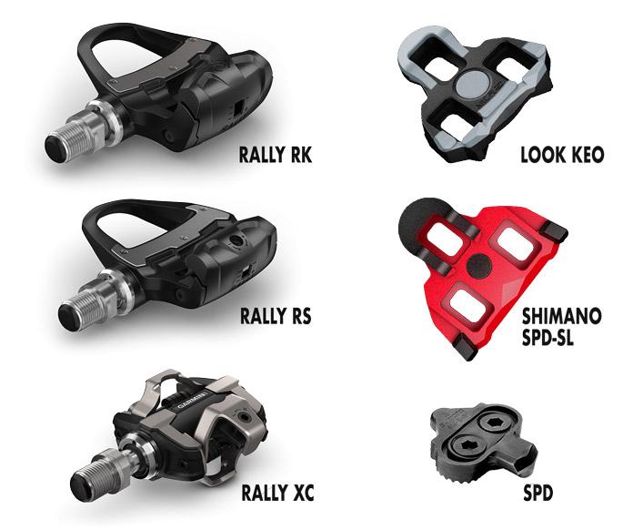 Pedales Garmin Rally y tipos de calas compatibles.