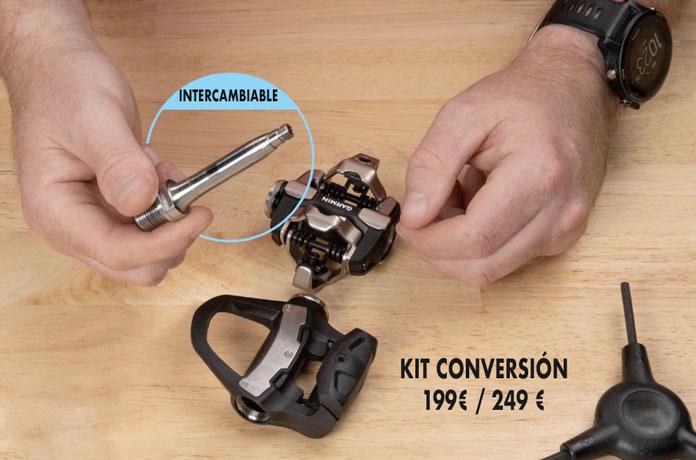 Sensor de potencia en eje de pedal intercambiable entre lo cuerpos de pedal Garmin Rally
