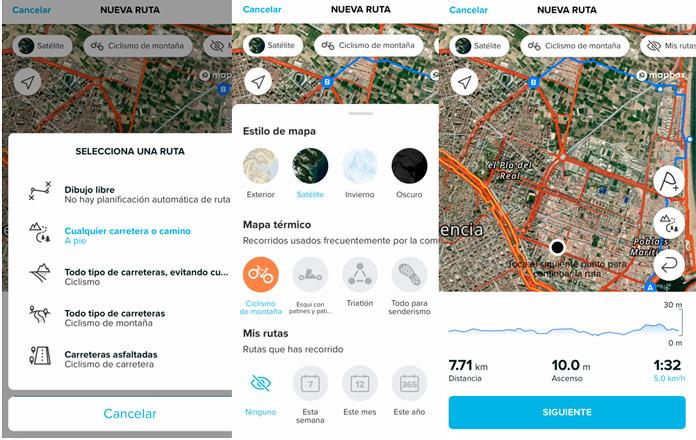 creación de rutas en la app de Suunto