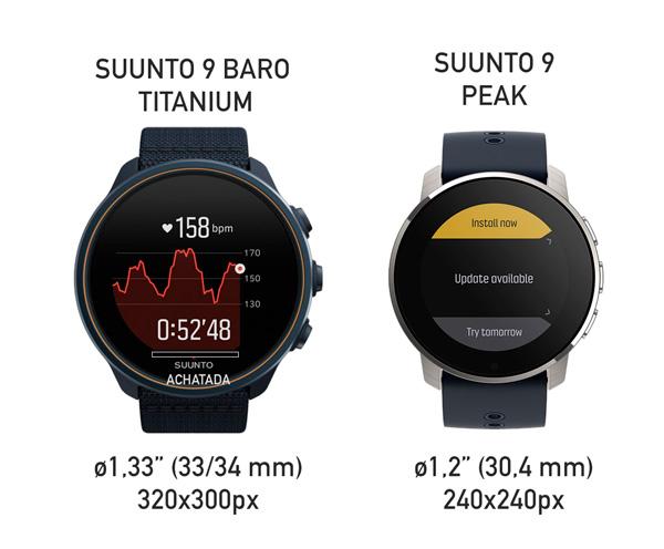 pantalla del suunto 9 peak frente a la pantalla del suunto 9 baro