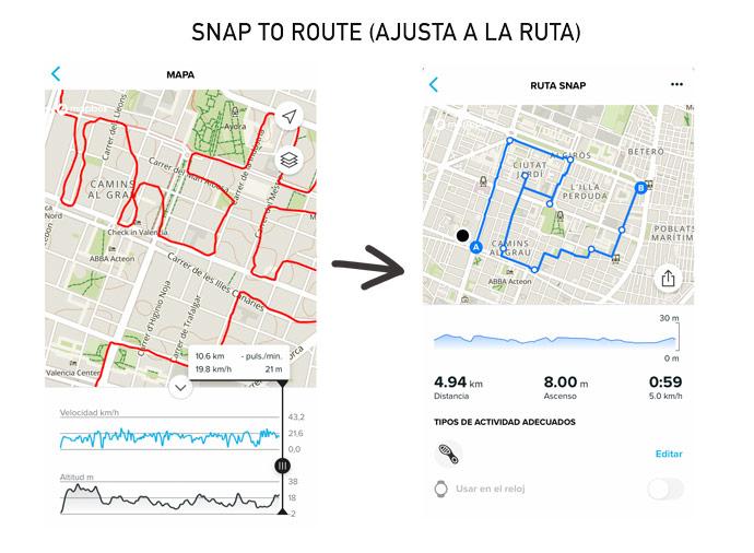 función ajustar a la ruta (snap to route) del suunto 9 peak