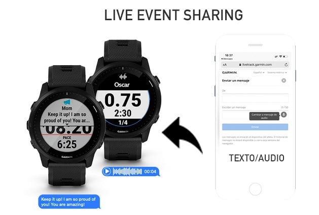 mensajes de expectadores en el live event sharing con el Garmin Forerunner 945 LTE
