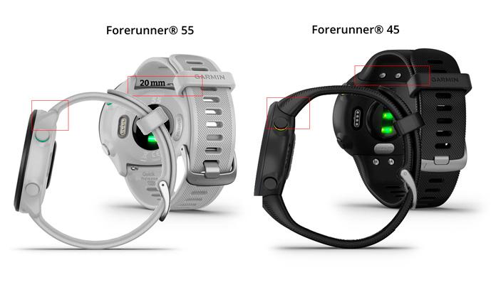 diferencias entre el diseño y la correa del Garmin Forerunner 55 y el Garmin Forerunner 45