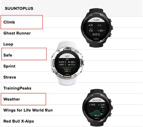 Funciones suunto plus para: seguridad, repeticiones por altitud, vueltas o sprints y weather.